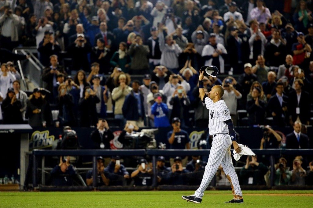 Derek Jeter saluting the sellout crowd at the Stadium. Al Bello/Getty Images