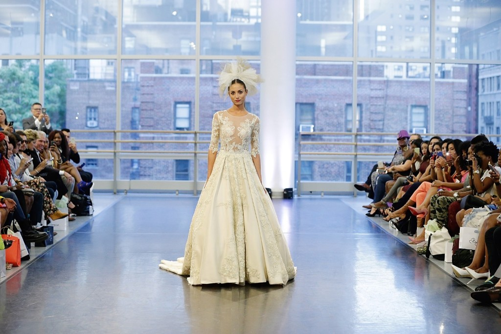 Model walks at Binzario Couture Runway during Spring 2016 New York Fashion Week at Alvin Ailey American Dance Theater. John Lamparski/Getty Images