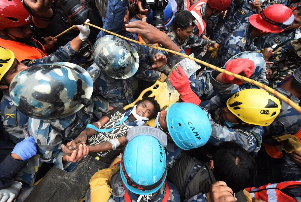 Earthquake survivor Pemba Tamang after being rescued from the rubble on Thursday in Kathmandu. Matt McClain/The Washington Post via Getty Images