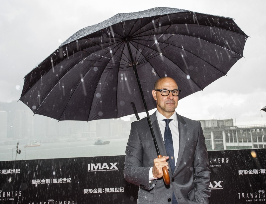 """Stanley Tucci at the worldwide premiere of """"Transformers: Age of Extinction"""" in Hong Kong. Jerome Favre/Getty Images"""