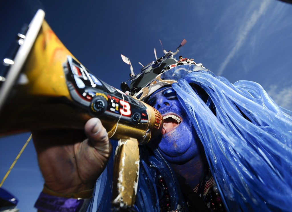 NASCAR fan Anthony Wright before the start of race at Talladega. AP Photo/Rainier Ehrhardt