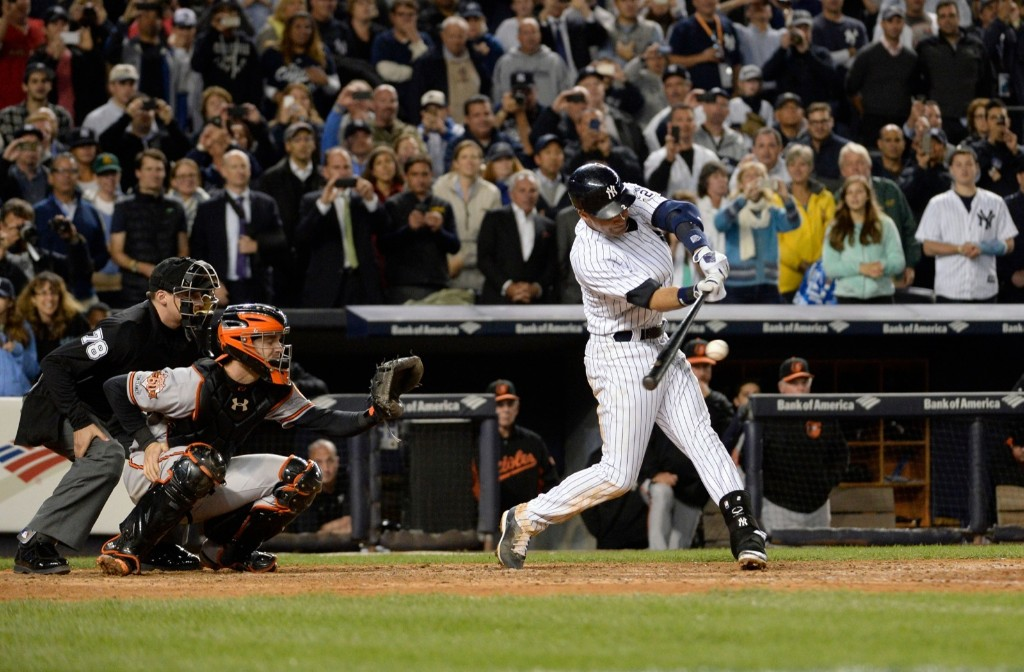Derek Jeter smashing game-winning single in the ninth. Robert Deutsch-USA TODAY Sports