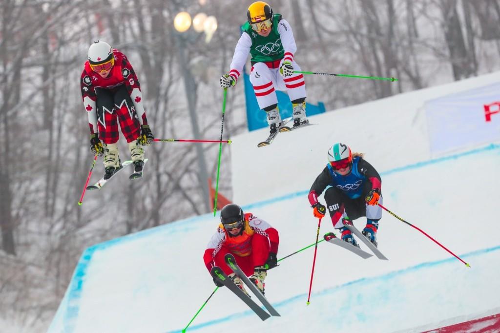 Kelsey Serwa of Canada winning over Katrin Ofner of Austria, Sanna Luedi of Switzerland and Anastasiia Chirtcova of Russia in women's ski cross final. Laurent Salino/Agence Zoom/Getty Images