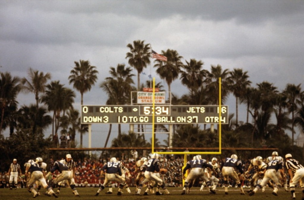 Baltimore Colts quarterback Johnny Unitas dropping back against the New York Jets at Orange Bowl Stadium in Super Bowl III, Jan.1969. Neil Leifer /Sports Illustrated/Getty Images