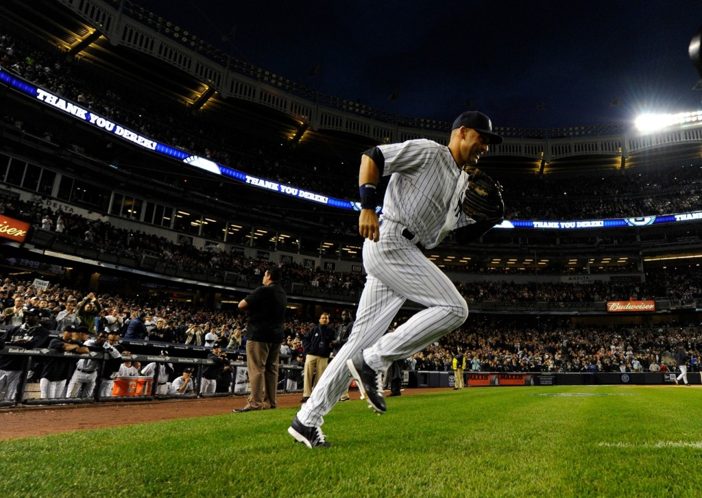 Derek Jeter takes the field for the last time at Yankee Stadium. Robert Deutsch-USA TODAY Sports
