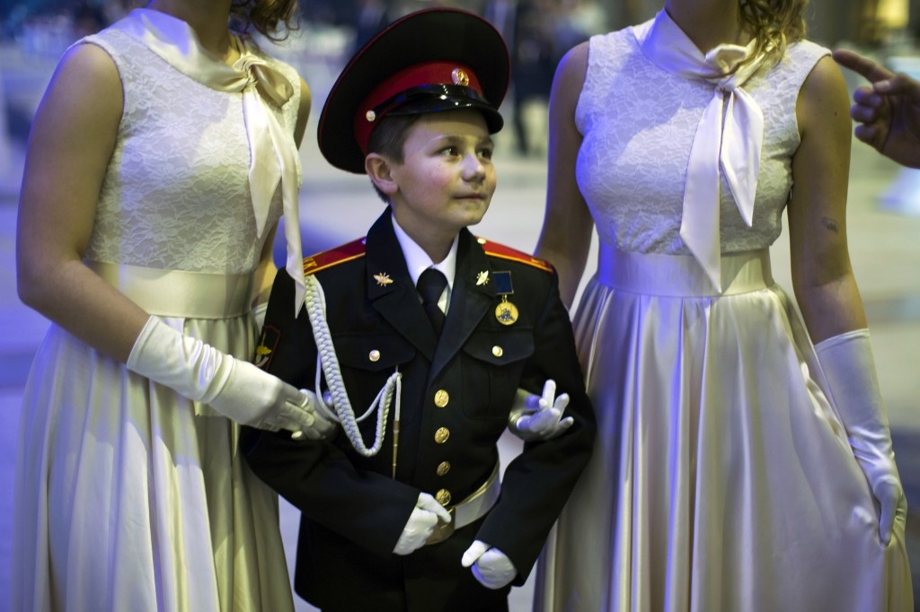 Students of military schools waiting to perform. AP Photo/Alexander Zemlianichenko