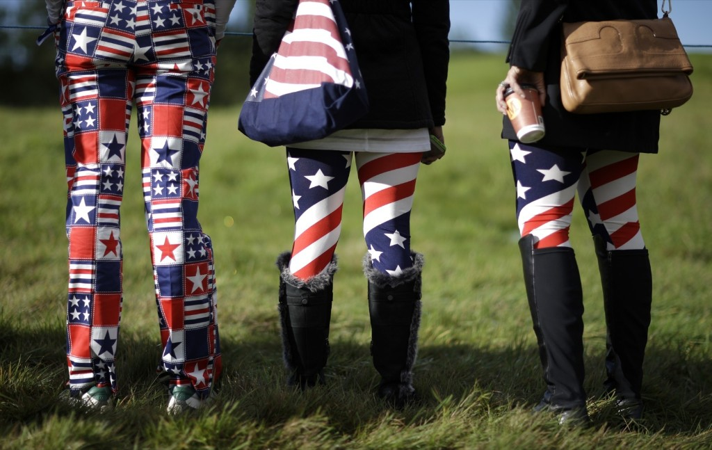 US fans at the 14th tee during a practice round ahead of the Ryder Cup in Gleneagles, Scotland. AP Photo/Matt Dunham