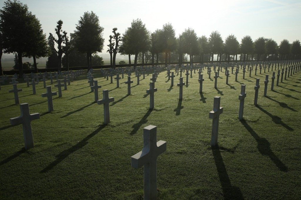 Crosses mark the graves of U.S. soldiers, most of them killed in the Battle of Belleau Wood, at the Aisne-Marne American Cemetery near Chateau-Thierry, France on Memorial Day. Sean Gallup/Getty Images