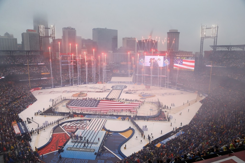 The start of the 2017 Bridgestone NHL Winter Classic between the St. Louis Blues and the Chicago Blackhawks at Busch Stadium in St. Louis. Scott Kane/Getty Images