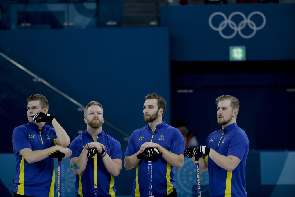 Sweden during loss in the men's curling final against the U.S. AP Photo/Natacha Pisarenko