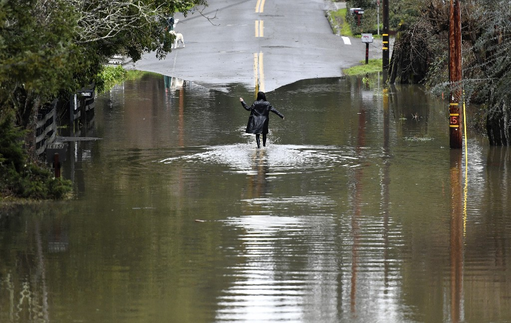 A woman walks along a flooded road in Guerneville, Calif., on Friday, Feb. 15, 2019. In California, rainwater drained from saturated landscapes even as a new system moved into northern areas of the state and more heavy snow fell in the Sierra Nevada. (AP Photo/Josh Edelson)