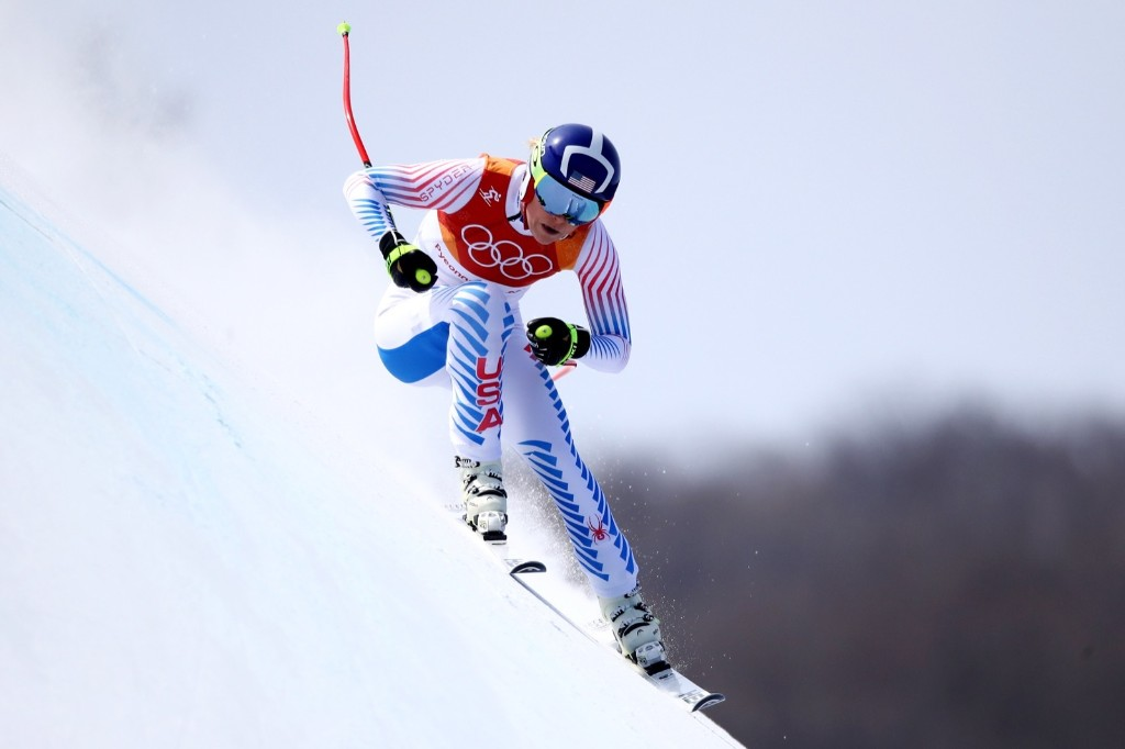 Lindsey Vonn taking the bronze medal in women's downhill. Ezra Shaw/Getty Images