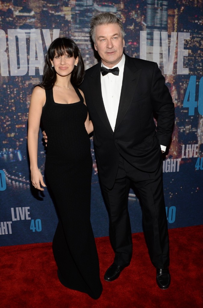 Hilaria Baldwin and Alec Baldwin arrive at the Saturday Night Live 40th Anniversary Special, Sunday, in New York. Evan Agostini/Invision/AP