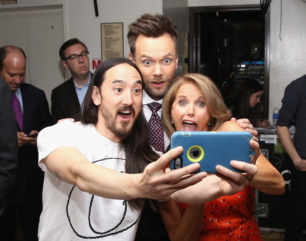 Steve Aoki, Joel McHale and Katie Couric attend the 2015 Yahoo Digital Content NewFronts, April 27, in New York. Robin Marchant/Getty Images
