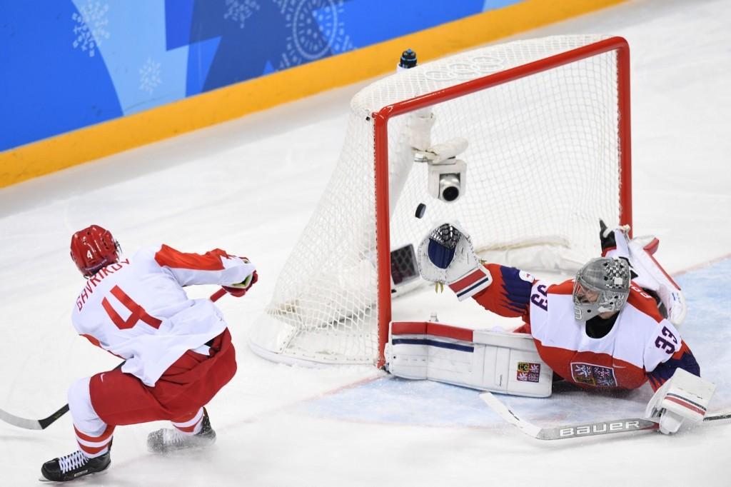 Russia's Vladislav Gavrikov scores against Czech Republic's Pavel Francouz. KIRILL KUDRYAVTSEV/AFP/Getty Images