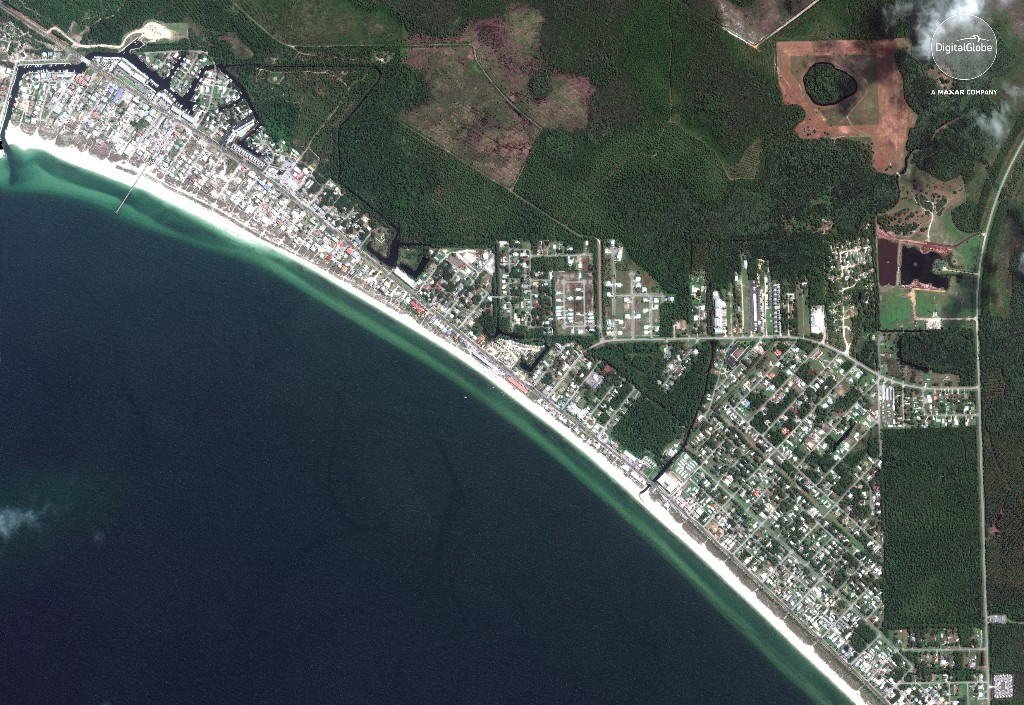 An overview of Mexico Beach, Florida is shown in this July 28, 2018 handout satellite image obtained October 13, 2018. Satellite image ©2018 DigitialGlobe, a Maxar company/Handout via REUTERS