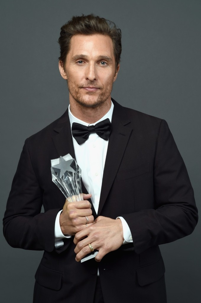Matthew McConaughey, winner of Best Actor in a Drama Series for 'True Detective' at the Critics' Choice TV Awards. Michael Buckner/Getty Images for Critics' Choice Television Awards