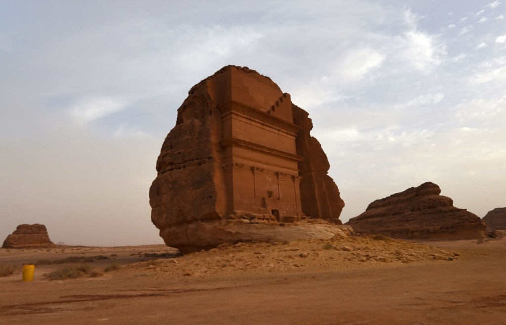 The Qasr al-Farid tomb (The Lonely Castle) carved into rose-colored sandstone in Madain Saleh, a UNESCO World Heritage site, near Saudi Arabia's northwestern town of al-Ula. Saudi Crown Prince Mohammed bin Salman signed a landmark agreement in Paris yesterday for the touristic and cultural development of the northwestern site, once a crossroads of ancient civilizations. FAYEZ NURELDINE/AFP/Getty Images