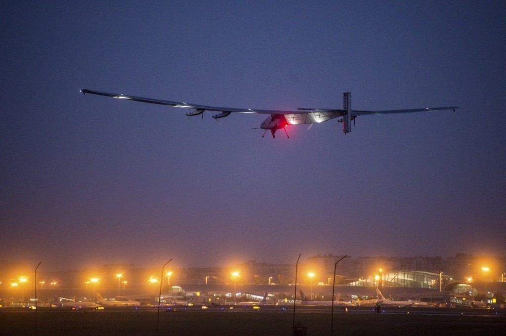 The Solar Impulse 2 en route to Nanjing, China. The plane, which began its journey in Abu Dhabi March 9, is attempting to complete a round-the-world solar-powered flight in about 25 flight days. REUTERS/Stringer