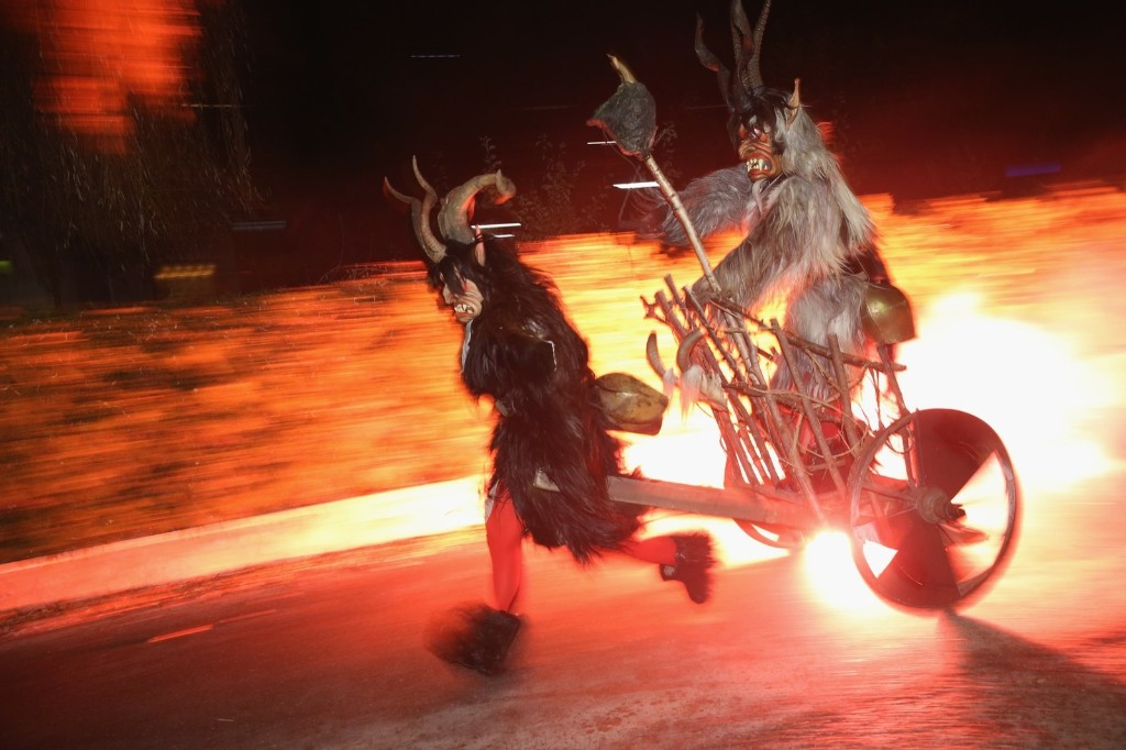 Krampus night in Haiming, Austria, Saturday. Krampus traditionally accompanies St. Nicholas on the evening of Dec. 5 to visit households to reward children that have been good while reprimanding those who have not. Sean Gallup/Getty Images