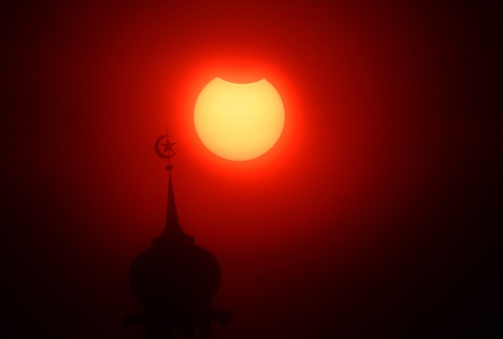 A near total solar eclipse in Jakarta, Indonesia. Jefri Tarigan /Anadolu Agency/Getty Images