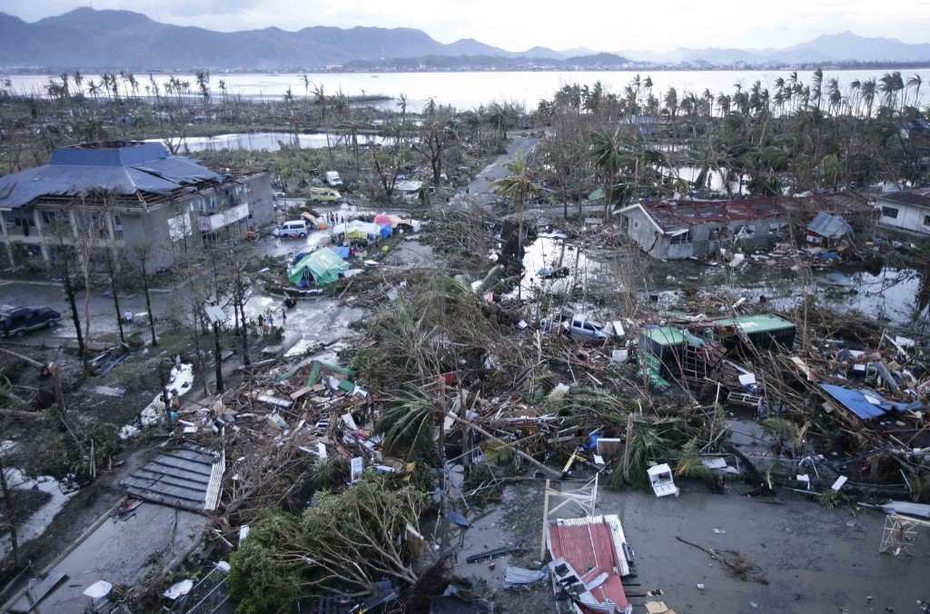 An aerial shot Saturday of Tacloban Airport that was devastated by powerful typhoon Haiyan in the Philippines Friday. Meteorologists said Haiyan had maximum sustained winds of 314 kilometers per hour (195 mph) and gusts up to 379 kilometers per hour (235 mph). AP Photo/Bullit Marquez