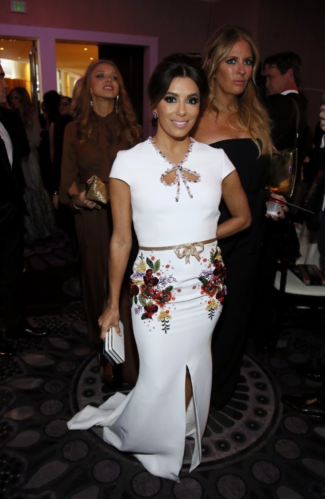 Eva Longoria arrives at the 73rd Golden Globes. REUTERS/Danny Moloshok