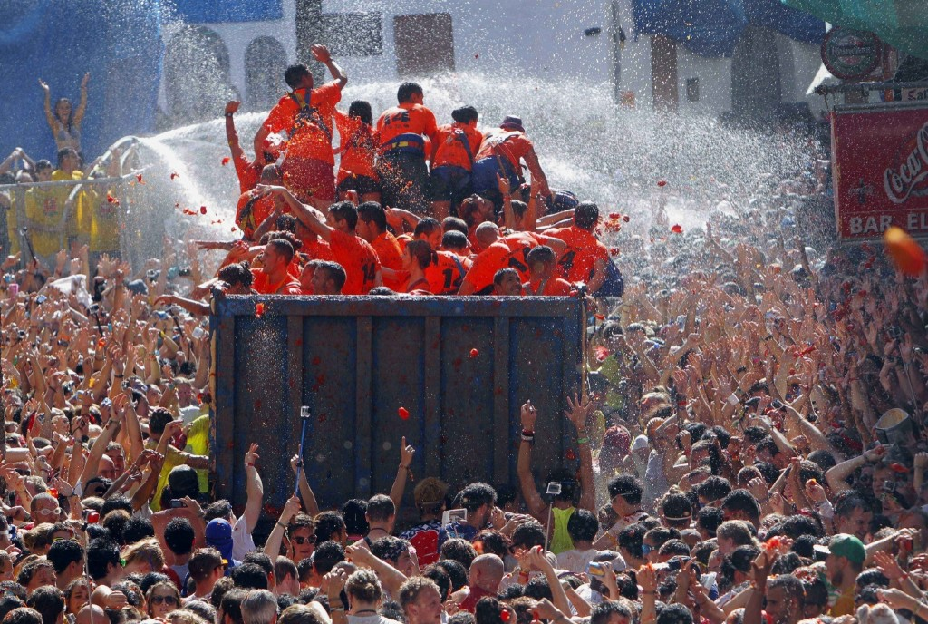 "The annual ""Tomatina"" battle has become a major tourist attraction. AP Photo/Alberto Saiz"