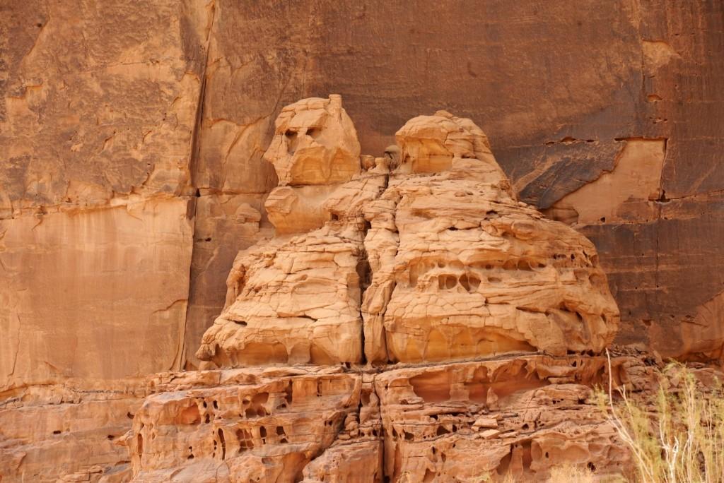Carved rose-colored sandstone in Madain Saleh. FAYEZ NURELDINE/AFP/Getty Images