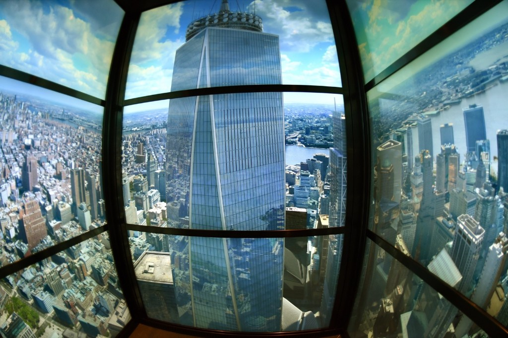 A time-lapsed view of New York seen through the years, is viewed from the Sky Pod elevator to the One World Observatory, Wednesday, in New York. Timothy A. Clary/AFP/Getty Images