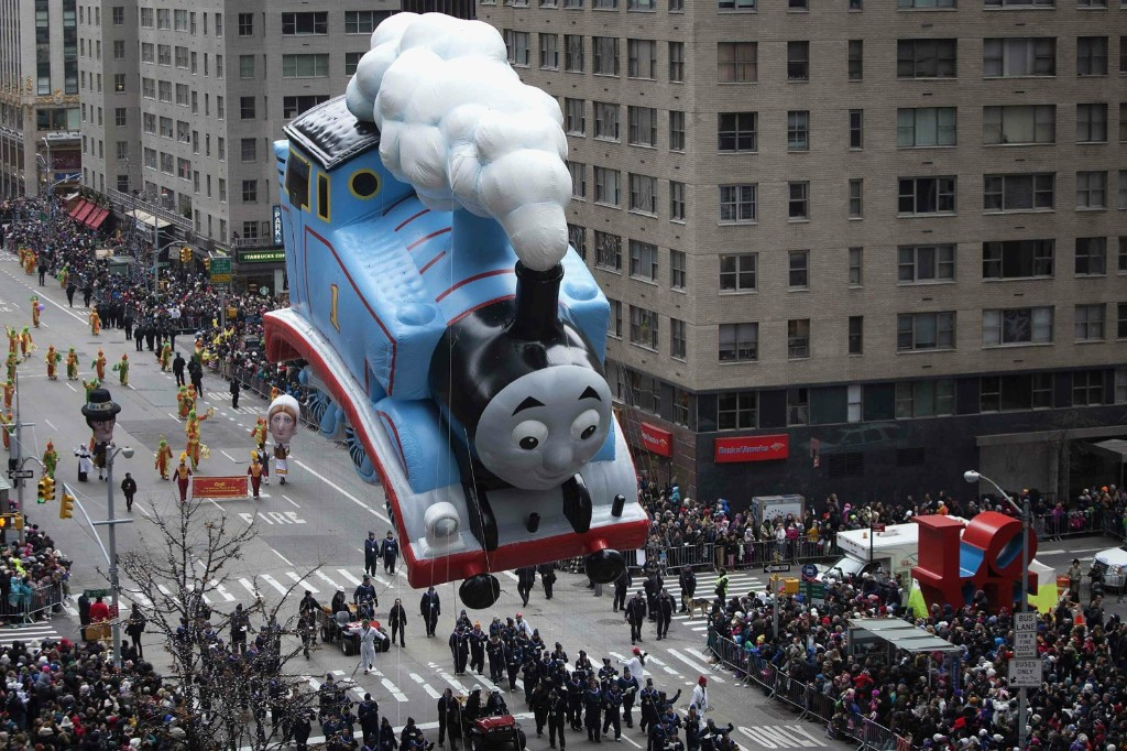 Thomas The Tank Engine chugging down 6th Ave. REUTERS/Carlo Allegri