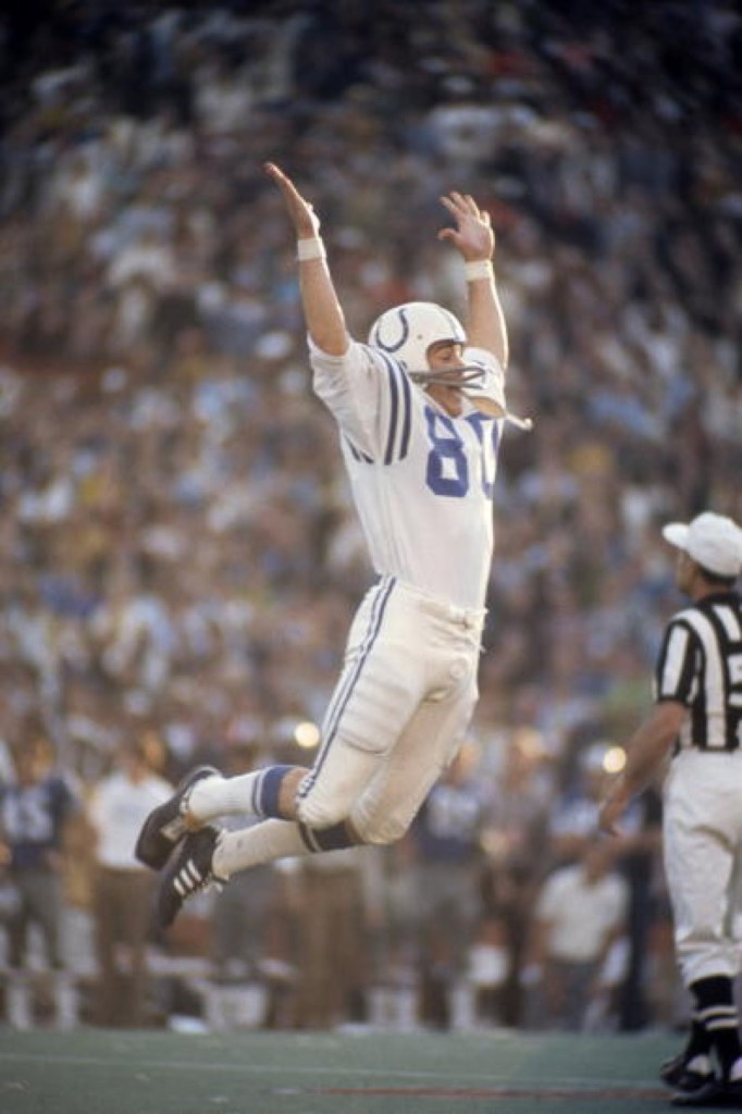 Jim O'Brien of the Colts after kicking game-winning 32-yard field goal with 5 seconds left in Super Bowl V, Jan. 1971, against the Cowboys at the Orange Bowl. Tony Tomsic/Getty Images