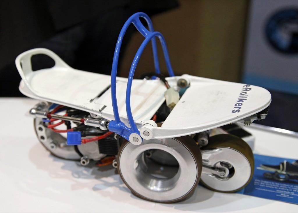 Detail shot of The Rollkers transportation device prototype. AP Photo/John Locher