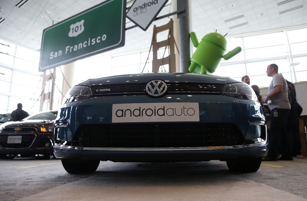 A Volkswagen car featuring Android Auto is displayed during the 2015 Google I/O conference, Thursday, in San Francisco. Justin Sullivan/Getty Images