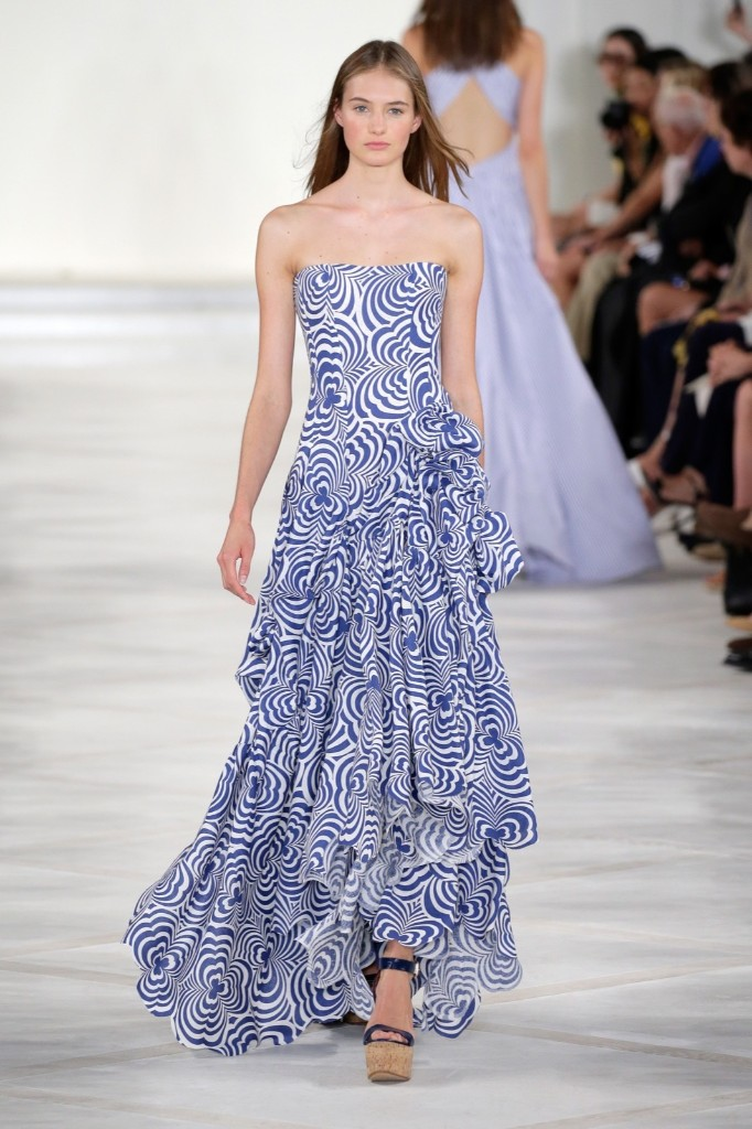 A model walks the runway wearing Ralph Lauren Spring 2016. JP Yim/Getty Images for NYFW: The Shows