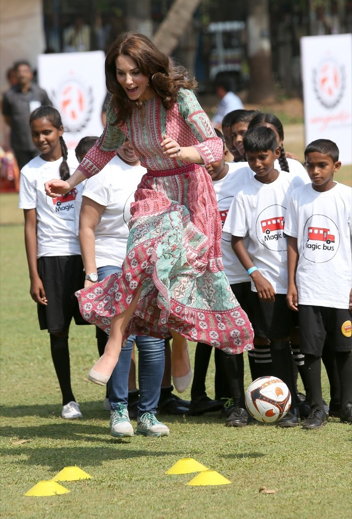 Catherine, Duchess Of Cambridge, during a visit to meet children from Magic Bus, Childline and Doorstep, three non-governmental organizations, and watch a game of cricket at Mumbai's iconic recreation ground, the Oval Maidan. Chris Jackson/Getty Images