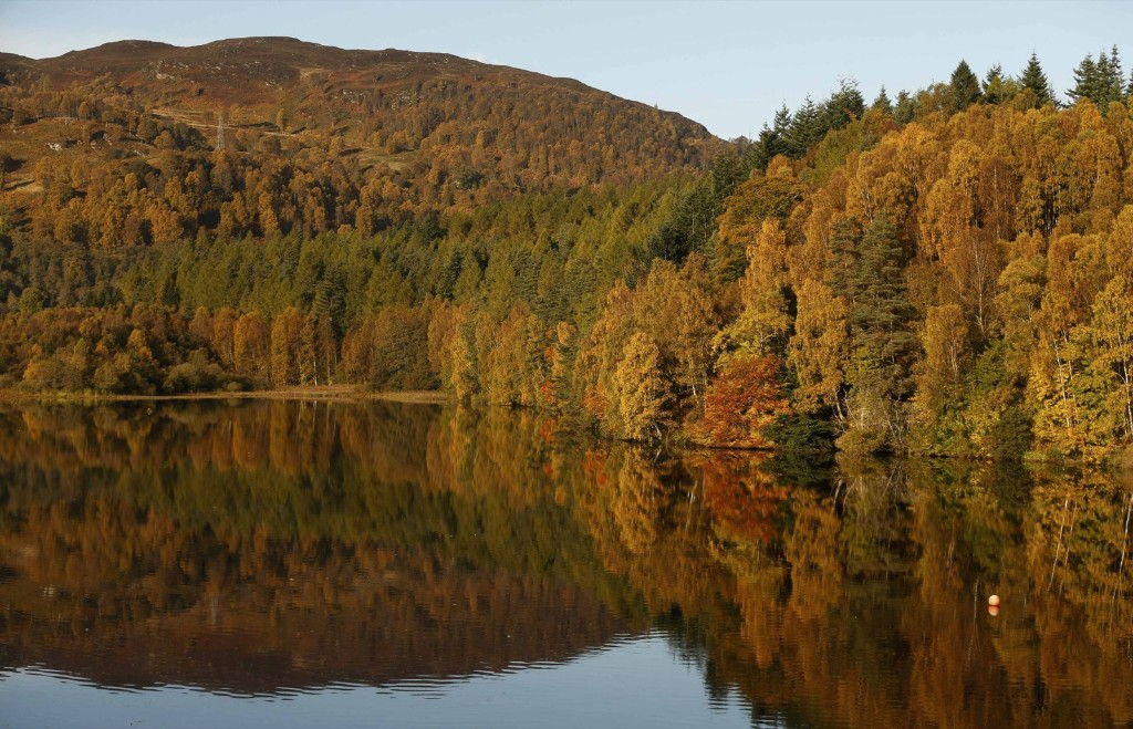 Autumn leaves are reflected in the water of Loch Faskally in Pitlochry, Scotland. REUTERS/Russell Cheyne