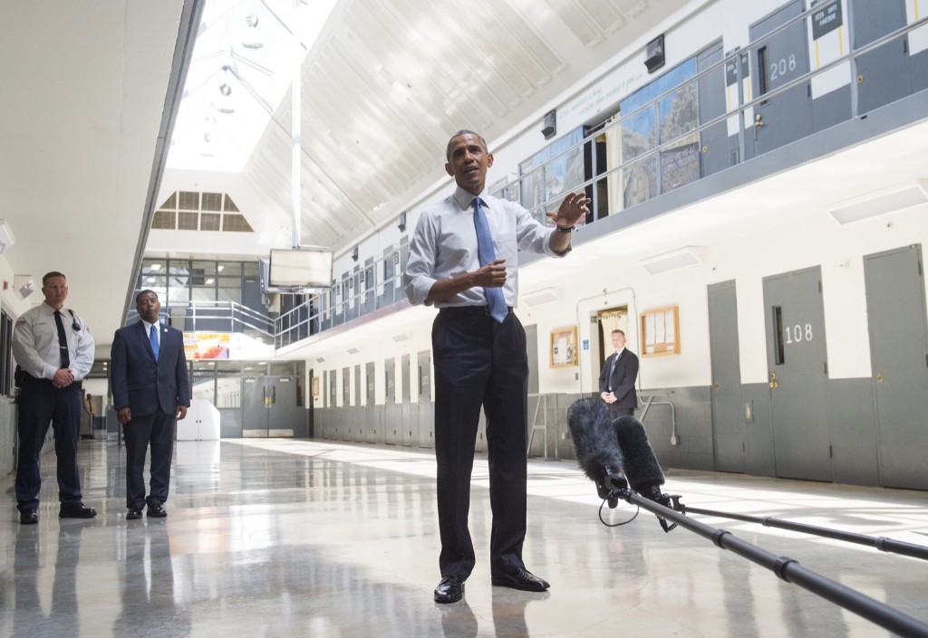 US President Barack Obama tours the El Reno Federal Correctional Institution in El Reno, Oklahoma, Thursday. Obama is the first sitting US President to visit a federal prison, in a push to reform one of the most expensive and crowded prison systems in the world. SAUL LOEB/AFP/Getty Images