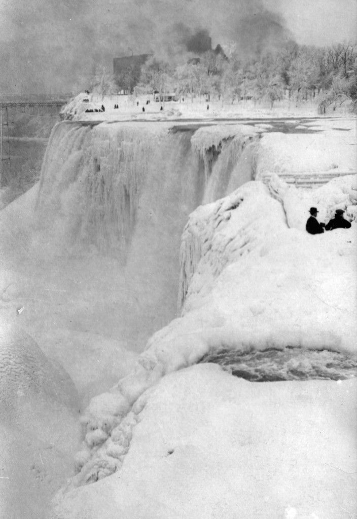 The ice bridge over Niagara Falls extends into the distance in this winter photo postcard made in Niagara Falls, Canada, circa 1910 . Transcendental Graphics/Getty Images