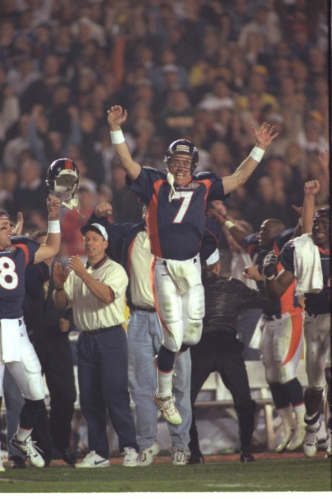 John Elway, the Broncos quarterback, after 31-24 victory over the Packers in Super Bowl XXXII in San Diego, Jan 1998. Sporting News/Getty Images