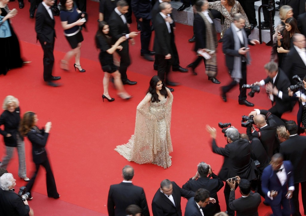 "Bollywood actress Aishwarya Rai on the red carpet as she arrives for the screening of the film ""Ma loute"" (Slack Bay). REUTERS/Eric Gaillard"