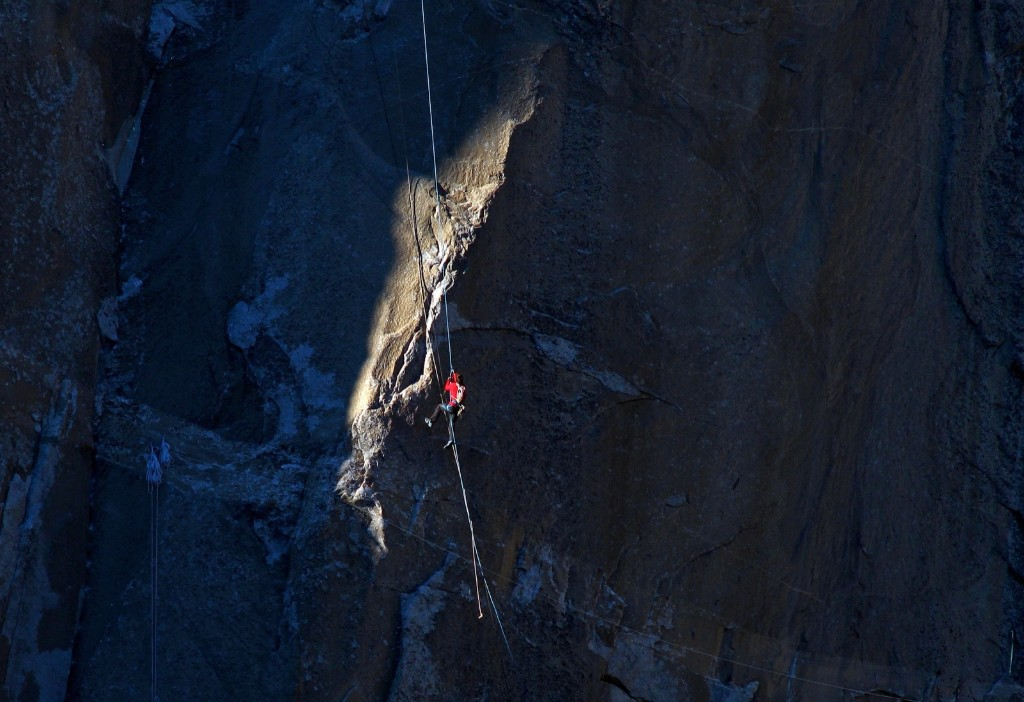 Kevin Jorgeson ascends the rope to pitch 17 during what has been called the hardest rock climb in the world: a free climb of El Capitan. AP Photo/Tom Evans/elcapreport