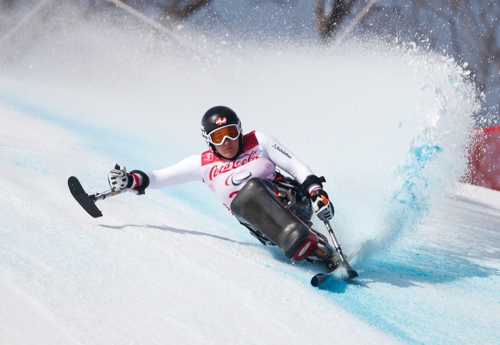 Claudia Loesch of Austria during the Alpine Skiing Sitting Women's Downhill. Simon Bruty for OIS/IOC