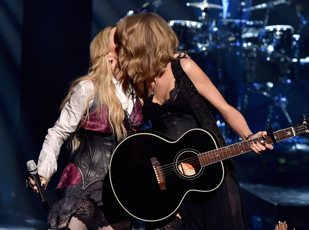 Madonna and Taylor Swift perform 'Ghost Town' during the 2015 iHeartRadio Music Awards, Sunday, in Los Angeles. Kevin Winter/Getty Images for iHeartMedia