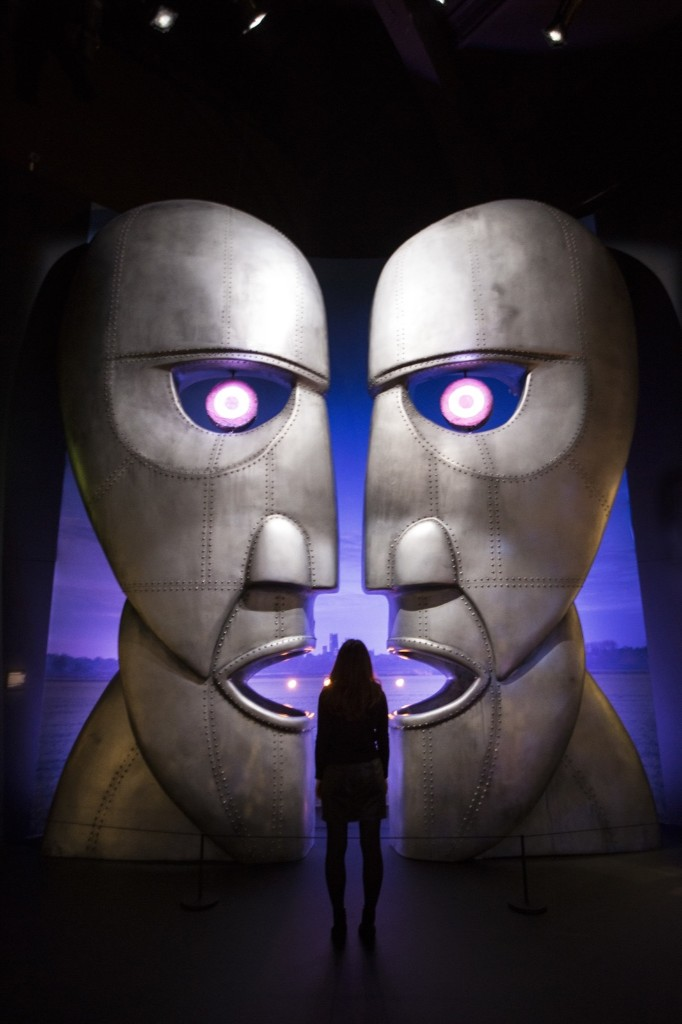 The metal heads from Pink Floyd's Division Bell album at the band's exhibition, 'Their Mortal Remains', at the V&A museum in west London. The exhibition marks the 50th anniversary of the band's first album, 'The Piper At The Gates Of Dawn' and officially opens to the public on May 13. Joel Ryan/Invision/AP