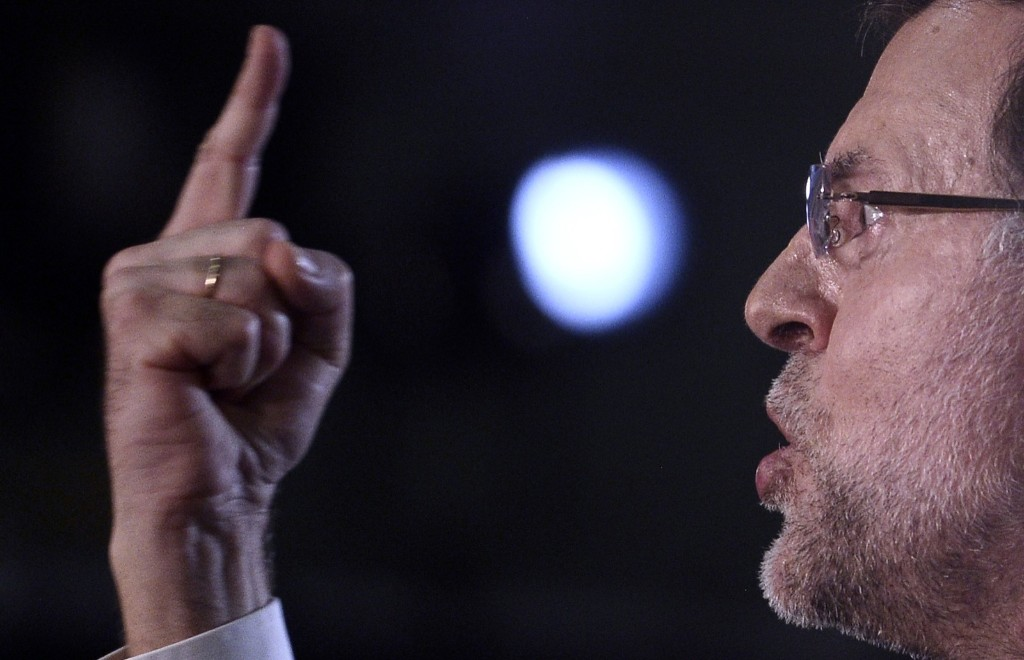 Spain's Prime Minister Mariano Rajoy during a speech in Barcelona. AP Photo/Manu Fernandez