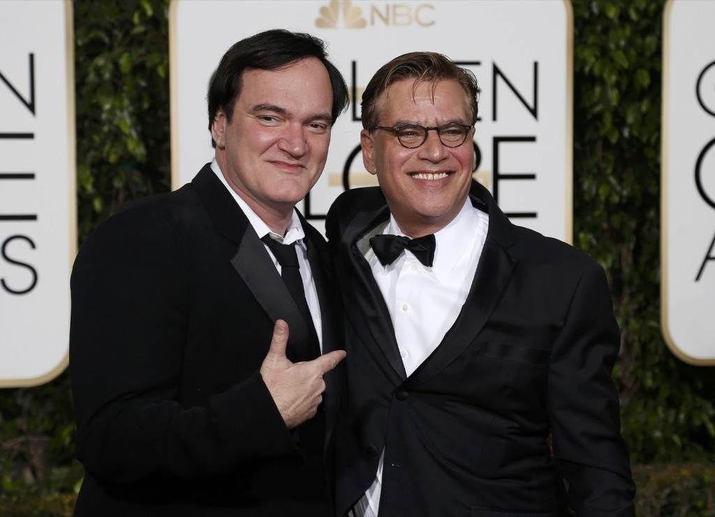 Quentin Tarantino and Aaron Sorkin as they arrive at the 73rd Golden Globe Awards. REUTERS/Mario Anzuoni