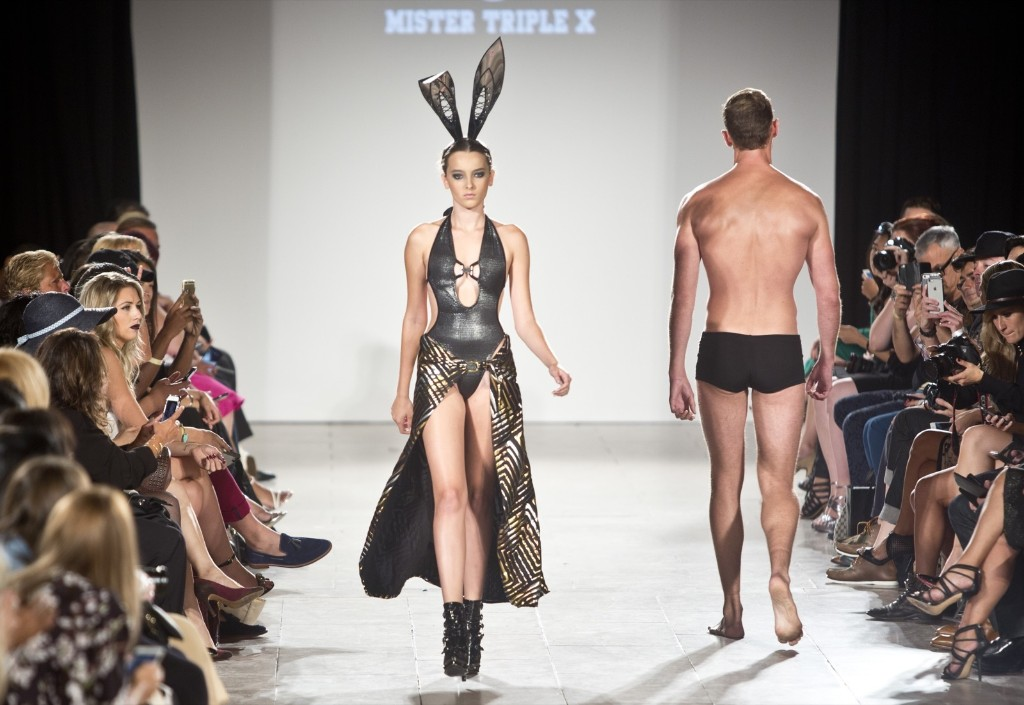 Fashion from Mister Triple X in the Art Hearts Fashion Spring 2016 collection. AP Photo/Bebeto Matthews