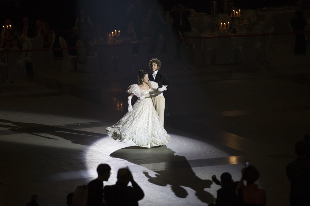 Students of military schools perform during an annual ball in Moscow. AP Photo/Alexander Zemlianichenko