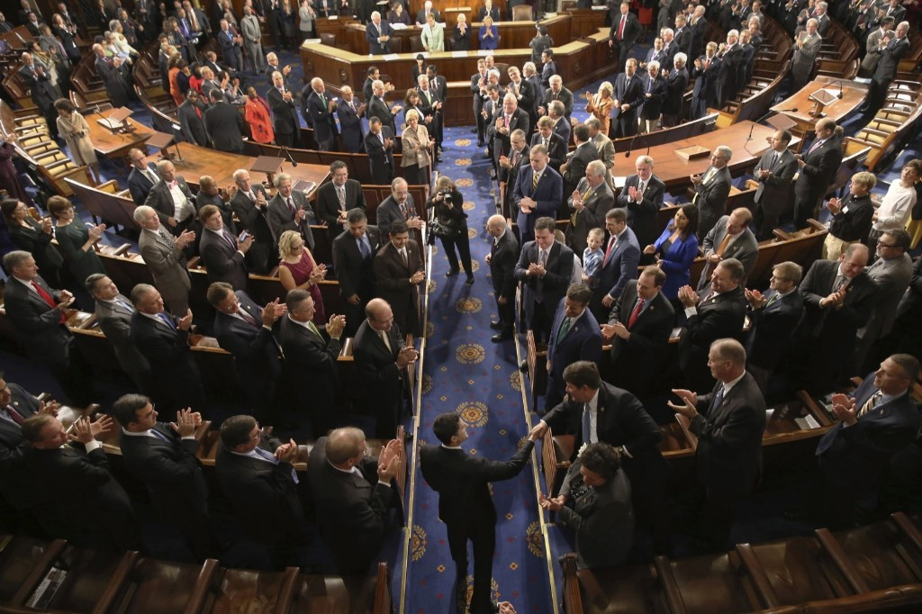 Rep. Paul Ryan is greeted after being elected Speaker of the House. AP Photo/Andrew Harnik